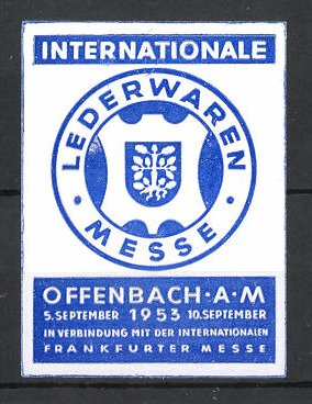 Reklamemarke Offenbach, Internationale Lederwarenmesse 1953, Messelogo