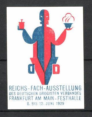 Reklamemarke Frankfurt/ Main, Reichs-Fach-Ausstellung des deutschen Drogisten Verbandes 1929, Messelogo
