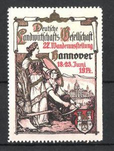 Reklamemarke Hannover, 27. Wanderausstellung der Deutschen Landwirtschaftsgesellschaft 1914
