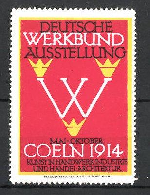reklamemarke k ln deutsche werkbund ausstellung 1914 messelogo nr 7661681 oldthing siegel. Black Bedroom Furniture Sets. Home Design Ideas