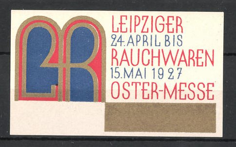 reklamemarke leipzig rauchwaren und ostermesse 1927. Black Bedroom Furniture Sets. Home Design Ideas