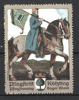 Künstler-Reklamemarke Kötzing, Pfingsritt, Reiter mit Flagge
