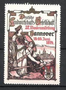 Reklamemarke Hannover, 27. Wanderausstellung der Deutschen Landwirtschaftsgesellschaft 1914, Ortswappen
