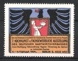 Reklamemarke Berlin, 7. Kochkunst- und Fachgewerbliche Ausstellung des Deutschen Gastwirtsverbandes 1904, Adler