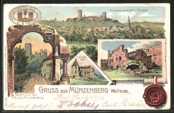 Lithographie Münzenberg, Gesamtansicht, Gasthaus zur Burg Münzenberg
