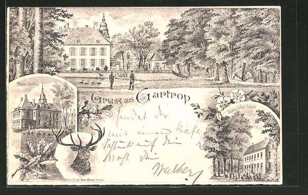 Lithographie Gartrop, Parkpartie mit Haus Gartrop und Restaurant Schult
