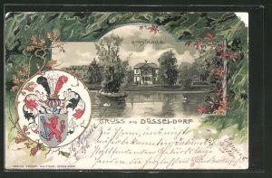 Passepartout-Lithographie Düsseldorf, Blick zur Kunsthalle, Wappen