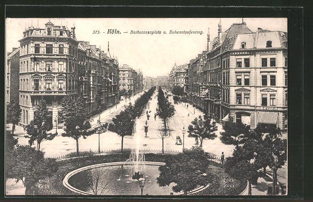 AK Köln-Neustadt, Barbarossaplatz und Hohenstaufenring aus der Vogelschau