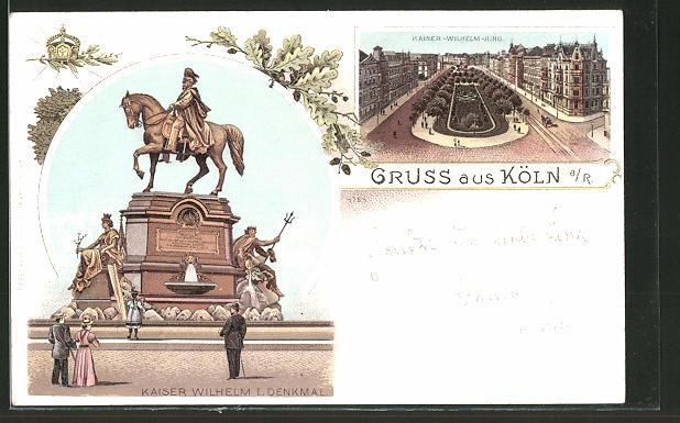 Lithographie Köln-Neustadt, Reiterdenkmal Kaiser Wilhelm I. & Kaiser-Wilhelmring aus der Vogelschau