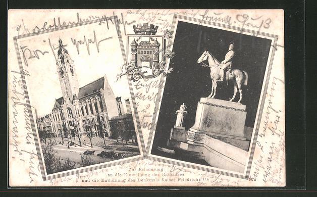 AK Berlin-Charlottenburg, Einweihung des Rathauses und Enthüllung des Denkmals Kaiser Friedrichs III.