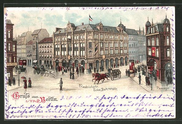 Lithographie Berlin, Passage Friedrichstrasse Ecke Behrenstrasse