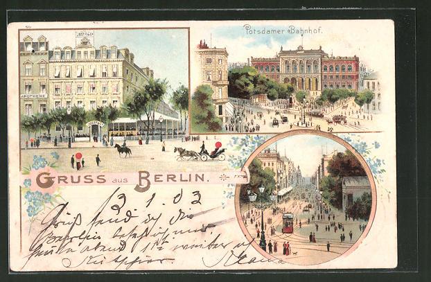 Lithographie Berlin-Tiergarten, Potsdamer Platz, Café Josty, Potsdamer Bahnhof
