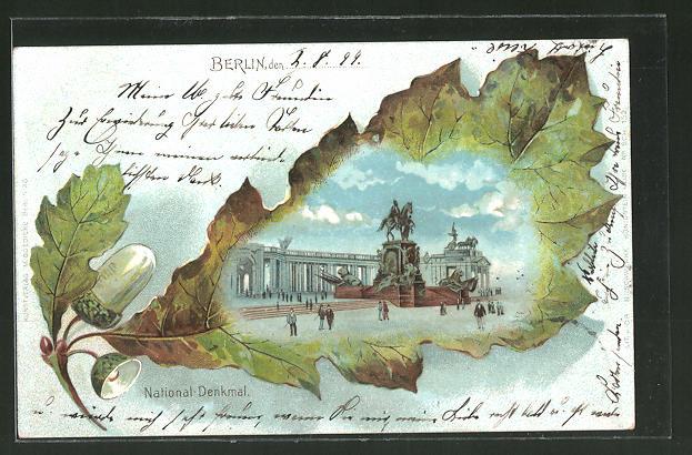 Passepartout-Lithographie Berlin, National-Denkmal, Eichenblatt