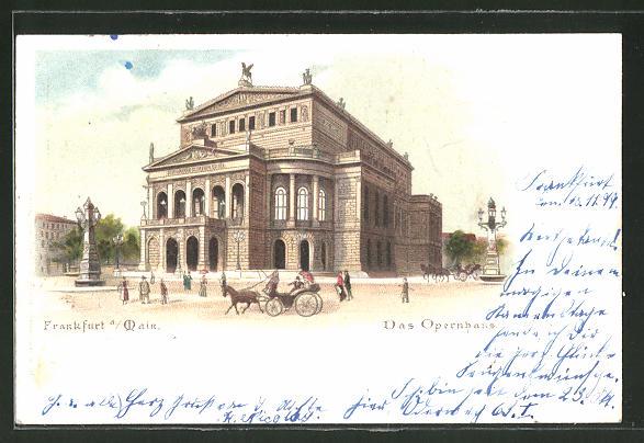 Lithographie Frankfurt, Ansicht vom Opernhaus, Papierkunst-Verzierungen