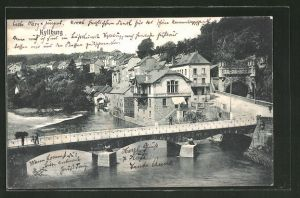 AK Kyllburg, Ortspartie mit Brücke aus der Vogelschau