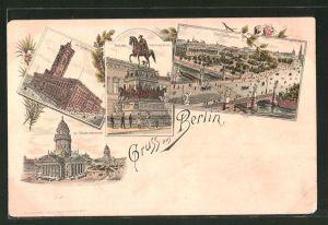 Lithographie Berlin, Rathaus, Denkmal Friedrich des Grossen, Lustgarten, Gendarmenmarkt