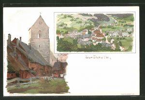 Künstler-AK Karl Mutter: Schönau, Kirche und Panorama