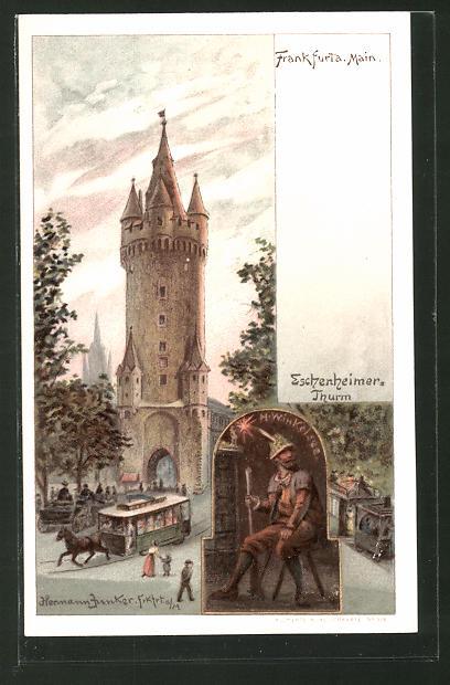 Lithographie Frankfurt, Pferdebahn am Eschenheimer Thurm