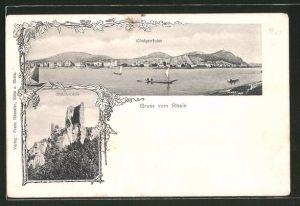 AK Königswinter, Rheinpartie und Ruine Drachenfels