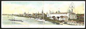 Klapp-AK Düsseldorf, Industrie- und Gewerbeausstellung 1902, Dampfer auf dem Rhein