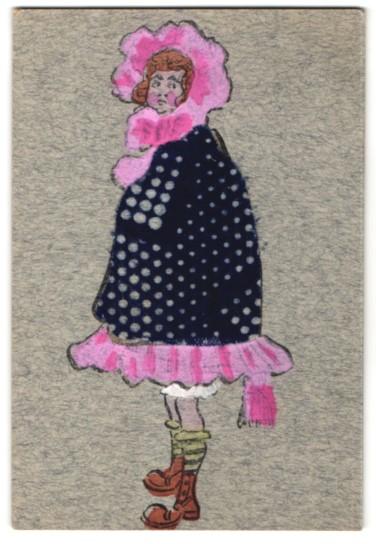Filz-AK Frau im blauen Mantel mit weissen Punkten aus Filz