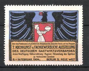 Reklamemarke Berlin, 7. Kochkunst- und Fachgewerbliche Ausstellung d. deutschen Gastwirtsverbandes 1904, Adler