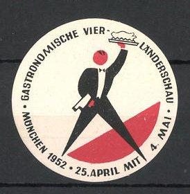 Reklamemarke München, Gastronomische Vier-Länderschau 1952, Ober mit Tablett