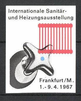 Reklamemarke Frankfurt/ Main, Internationale Sanitär- und Heizungsausstellung 1967, Wasserhahn und Heizkörper