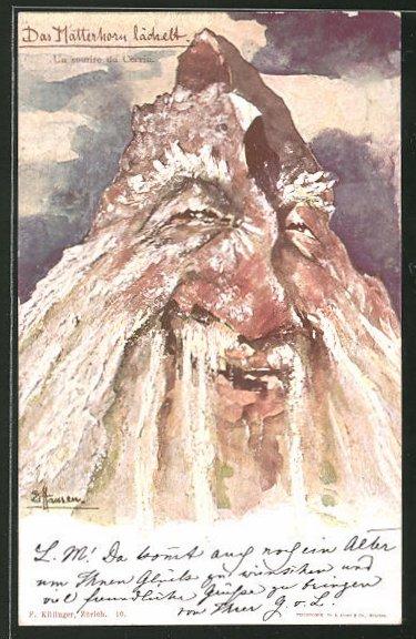 Künstler-AK Killinger Nr. 10: Das Matterhorn lächelt, Berg mit Gesicht / Berggesichter