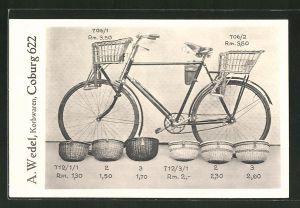 AK Coburg, Reklame für A. Wedel Korbwaren für Fahrräder