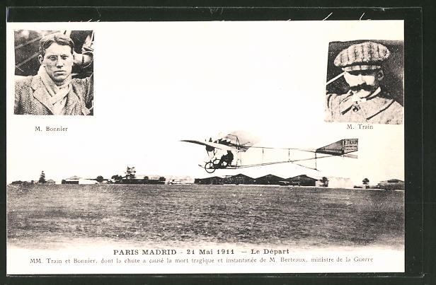 AK Abflug des Flugzeugs von Paris nach Madrid 1911, Piloten M. Bonnier und M. Train