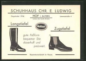 AK Hof, Schuhhaus Chr. E. Ludwig, Stiefel