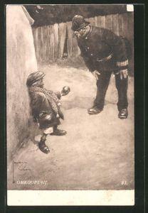 Künstler-AK Lawson Wood: Kleiner Apfeldieb und Polizist