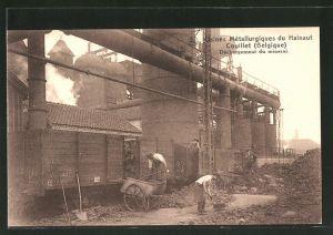 AK Couillet, Usines Métallurgiques du Hainaut, Déchargement du minerai, Abladen von Kohle