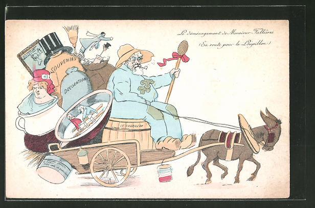 AK Le déménagement de Monsieur Fallières, En route pour le Loupillon, Karikatur