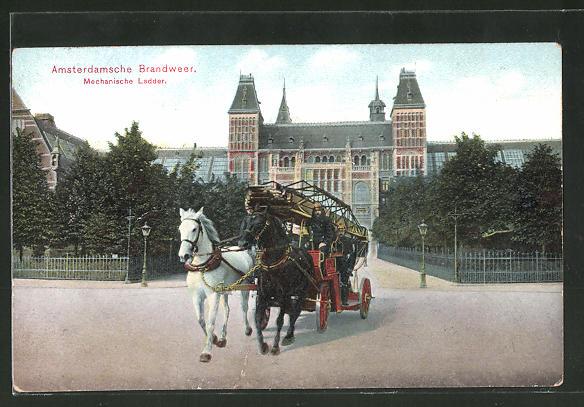 AK Amsterdamsche Brandweer, Mechanische Ladder, Leiterwagen der Feuerwehr
