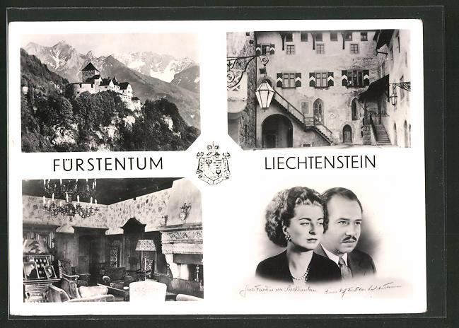 AK Liechtenstein, Schloss Vaduz, Residenz d, Landesfürsten, Fürst Franz Josef II. von und zu Liechtenstein