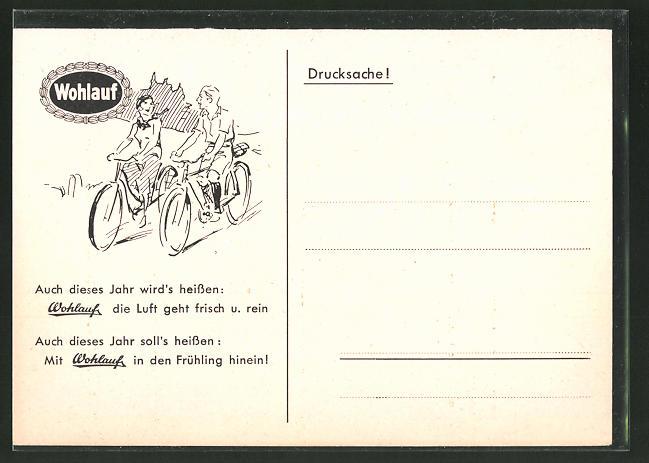 AK Reklame, Paar auf dem Fahrrad durch die Landschaft radelnd