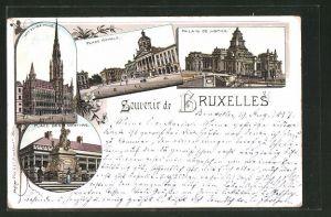 Lithographie Brüssel / Bruxelles, Palais de Justice, Palais Royale