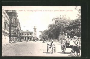 AK Colombo, Queen St. showing Light-House & entrance to queens house