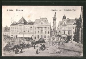 AK Neusatz, Elisabeth-Platz mit Strassenbahn