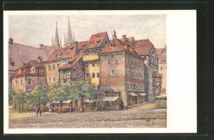 Künstler-AK Eger, Markt