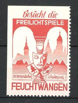 Reklamemarke Feuchtwangen, Freilichtspiele, Maske mit Wappen, Stadtsilhouette