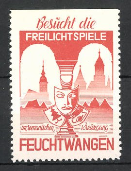 Reklamemarke Feuchtwangen, Freilichtspiele, Maske mit Wappen vor Stadtsilhouette