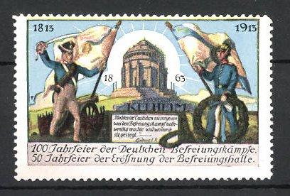 Reklamemarke Kelheim, 100 Jahrfeier der Befreiungskriege & 50 Jahrfeier der Befreiungshalle 1913, Soldaten mit Fahne