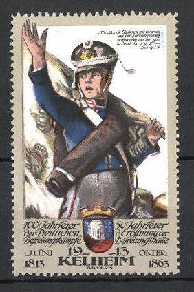 Reklamemarke Kelheim, 100 Jahrfeier der Befreiungskriege & 50 Jahrfeier der Befreiungshalle 1913, Soldat mit Fahne