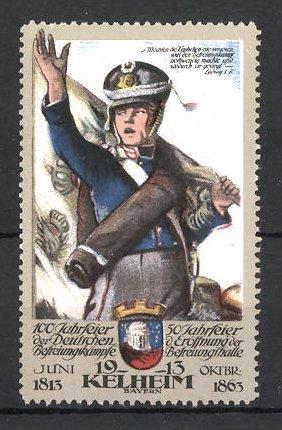Reklamemarke Kelheim, 100 Jahrfeier der Befreiungskriege & 50 Jahrfeier der Befreiungshalle 1913, Fahnenträger im Marsch