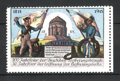 Reklamemarke Kelheim, 100 Jahrfeier der Befreiungskriege & 50 Jahrfeier der Befreiungshalle 1913, Fahnenträger