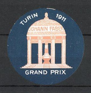 Reklamemarke Johann Faber, Grand Prix Turin 1911, Pavillon