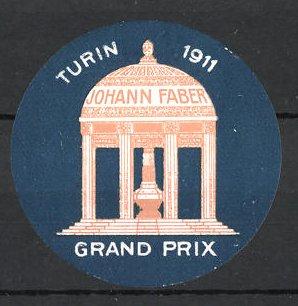 Reklamemarke Turin, Grand Prix 1911, Pavillon von Johann Faber
